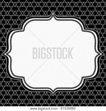 Black And Line And Zigzag Patterned Diamond Background With Embroidery