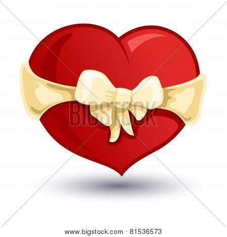Valentine Heart With A Beige Bow-knot