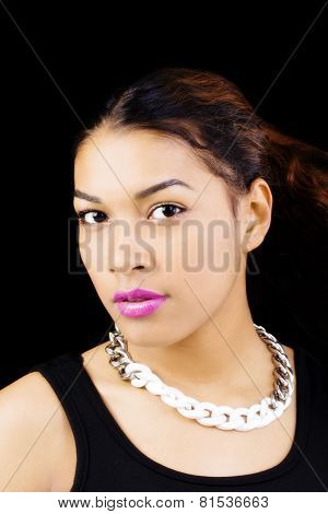 Portrait Attractive Hispanic Woman Necklace Black Background