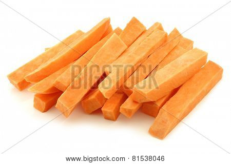 cut sweet potatoes on a white background
