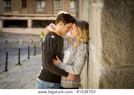 Beautiful Couple In Love Kissing On Street Alley Celebrating Valentines Day