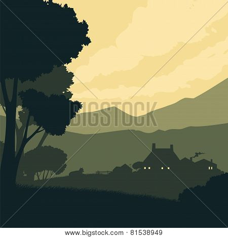 Silhouette Landscape With A Farm On A Background Of Mountains