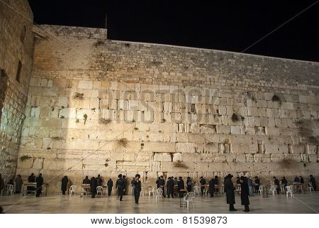 Western Wall (wailing Wall), Jerusalem At Night