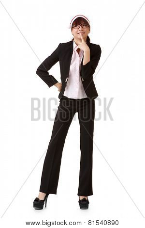 Cheerful business woman wearing Christmas hat.