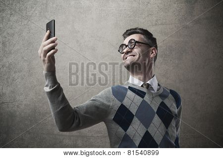 Funny Guy Taking A Selfie