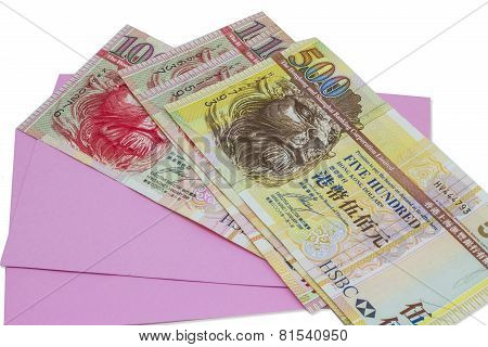 Hongkong banknote and pink envelope