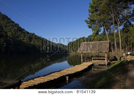 Hut and wooden bridge