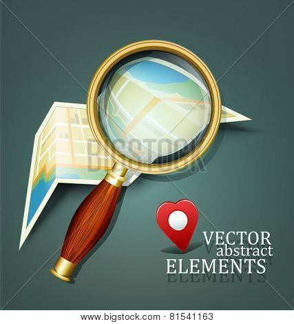 vector background with a map and a magnifying glass