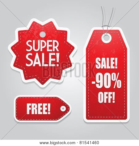 Red Price tag set vector