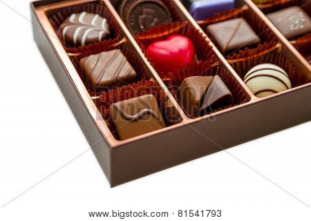 Brown Box Of Chocolate With Assorted Chocolates