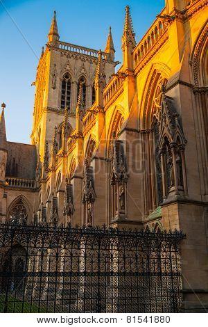 St. John college church in sunset, Cambridge