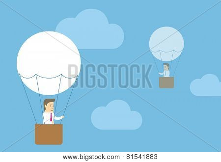 Business men on the balloons flying in the sky among the clouds