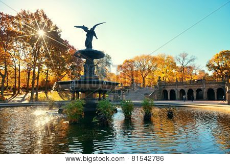 Central Park Autumn and angel fountain in midtown Manhattan New York City