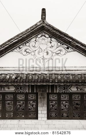 Local Bai style architecture roof and window in Dali old town. Yunnan, China.