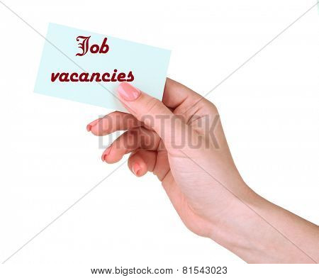 Job Vacancies text on card in hand isolated on white