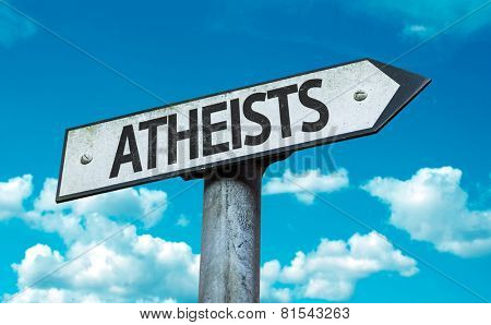 Atheists sign with sky background