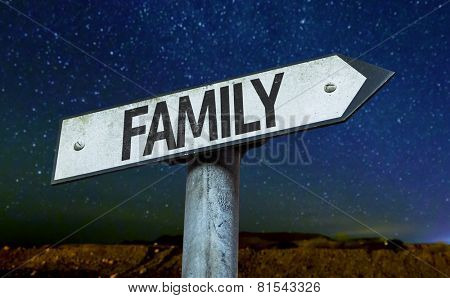 Family sign with a beautiful night background
