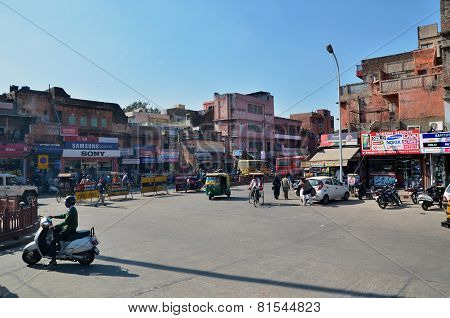Jaipur, India - December 29, 2014: Indian People On Street Of The Pink City, Jaipur