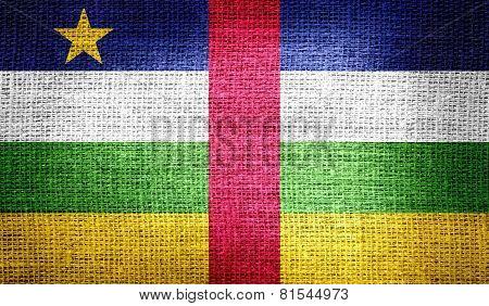 Central African Republic flag on burlap fabric