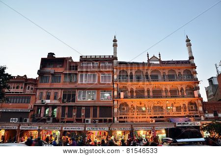 Jaipur, India - December 29, 2014: People Visit Streets Of Indra Bazar In Jaipur