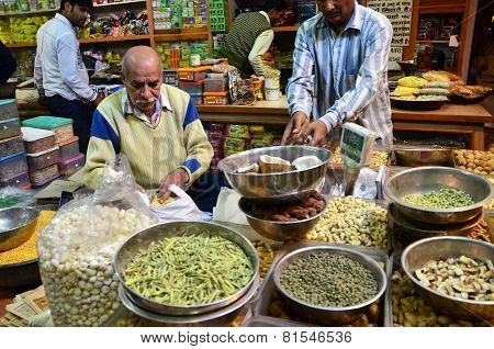 Jaipur, India - December 29, 2014: Unidentified Indian Man Selling Spices At Indra Bazar In Jaipur