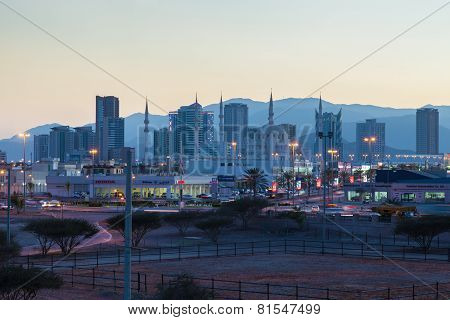 City Of Fujairah At Dusk