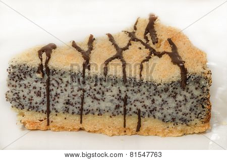 German Poppy Seed Cake On White Plate