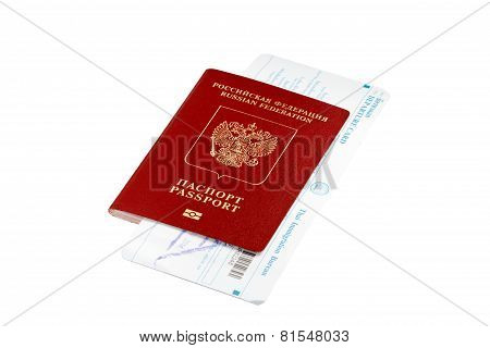 Isolated passport with Thai immigration card