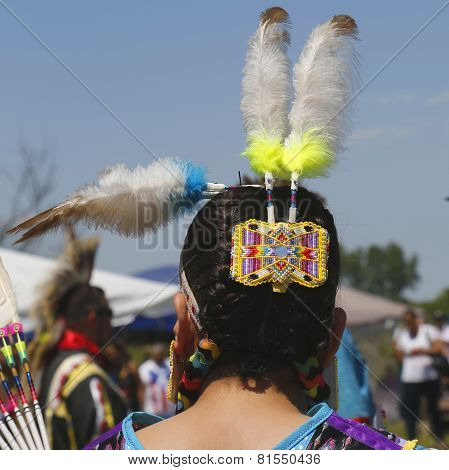 Unidentified female Native American dancer hair style at NYC Pow Wow