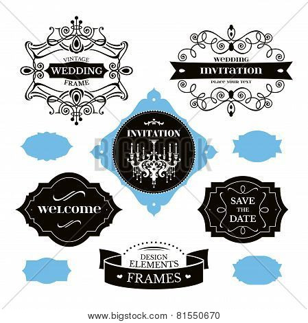 Set Of Wedding Frames And Labels