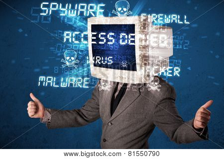 Monitor head person with hacker type of signs on the blue screen