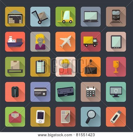Business, Warehouse, Transportation And Delivery Icons Flat Set