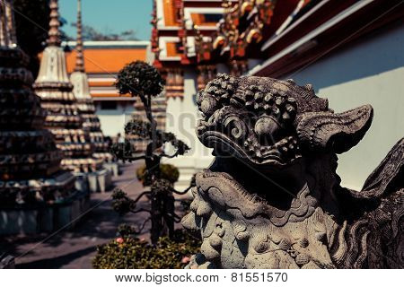 Chinese Lion Statue And Temple