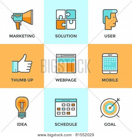 Digital Marketing Line Icons Set