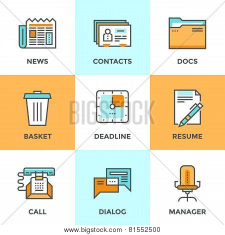 Office Things Line Icons Set