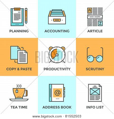 Paperwork In Office Line Icons Set