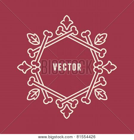 Vector Frame Made From Human Bones With Leafs