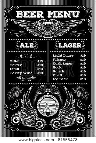 Template For The Beer Menu On Black Background With Motorcycles And Wings