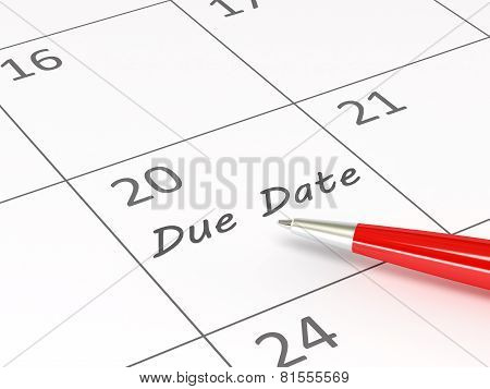 Due Date written on calendar