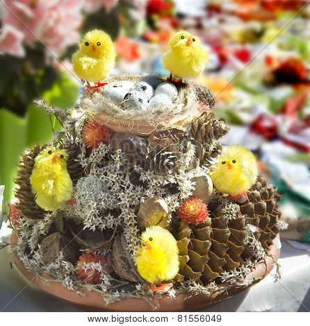 Easter Composition With Eggs And Chickens.