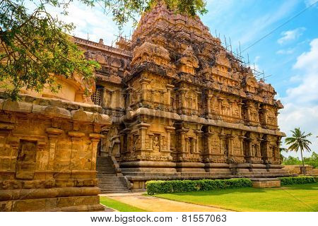 Architecture Of (entrance) Hindu Temple Dedicated To Shiva, Ancient Gangaikonda Cholapuram Temple,