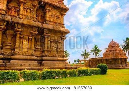 Part Of Complex Architecture Hindu Temple, Ancient Gangaikonda Cholapuram Temple,  India, Tamil Nadu