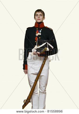 Boy In Uniform Of Soldier Of Xix Century
