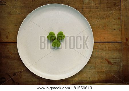 Shamrock/clover on a plate