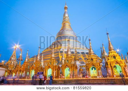 Yangon, Myanmar - Aug 2 : The Atmosphere Of Shwedagon Pagoda On August 2, 2009, In Yangon, Myanmar.