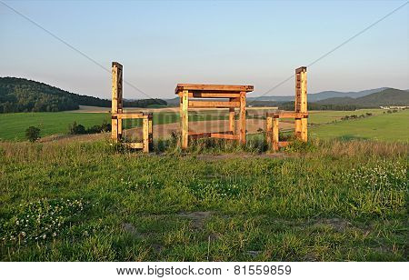 chairs and table in the country, Czech Republic, Europe