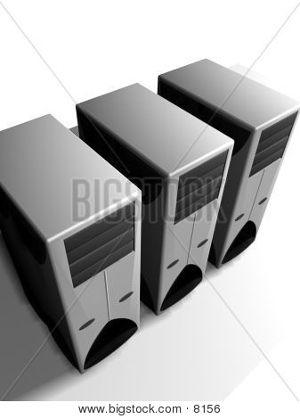 Group Of 3D Computer Towers
