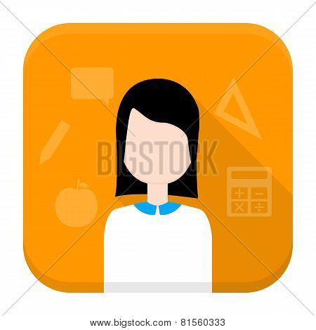 Woman App Icon With Long Shadow