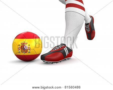 Man and soccer ball  with Spanish flag (clipping path included)