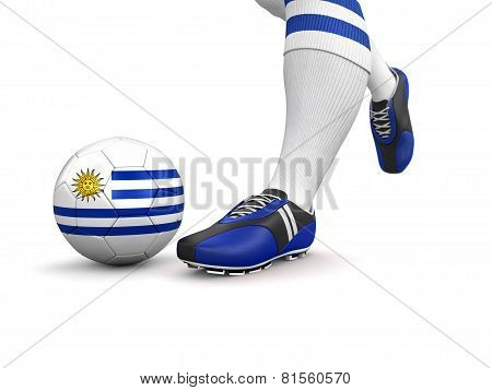 Man and soccer ball  with Uruguayan flag (clipping path included)